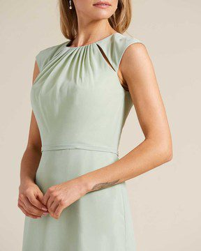 Pastel Green Cut Out Top Long Formal Gown - Detail