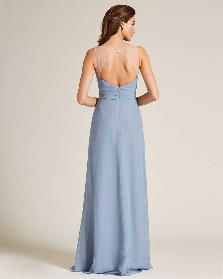 Pastel Blue Sleeveless Illusion Back Formal Gown - Back