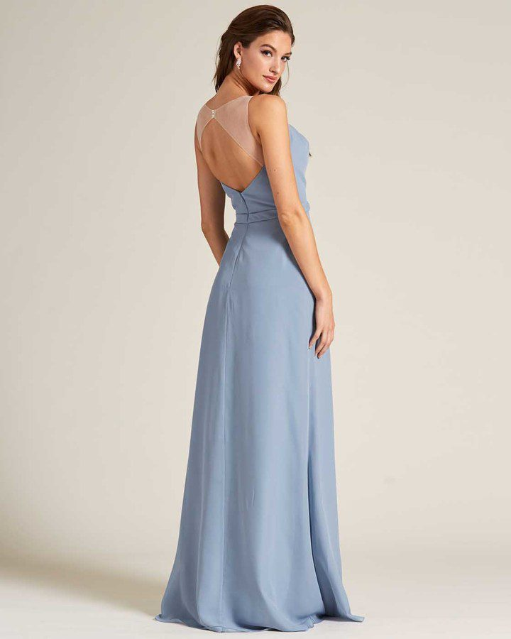 Pastel Blue Sleeveless Illusion Back Formal Gown - Side