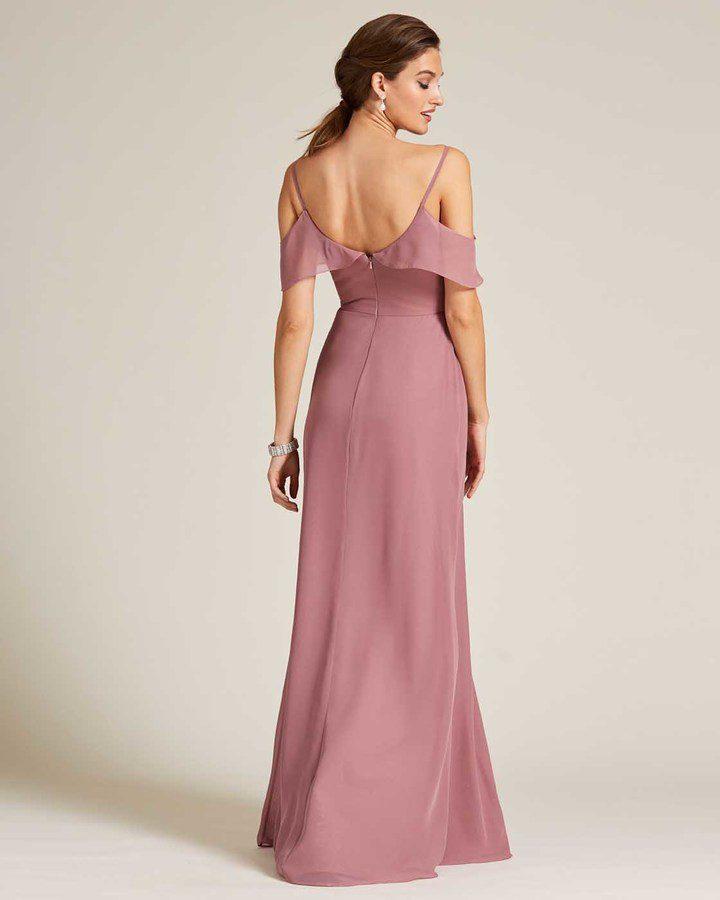 Rose Pink Layered Top Long Slit Skirt Dress - Back