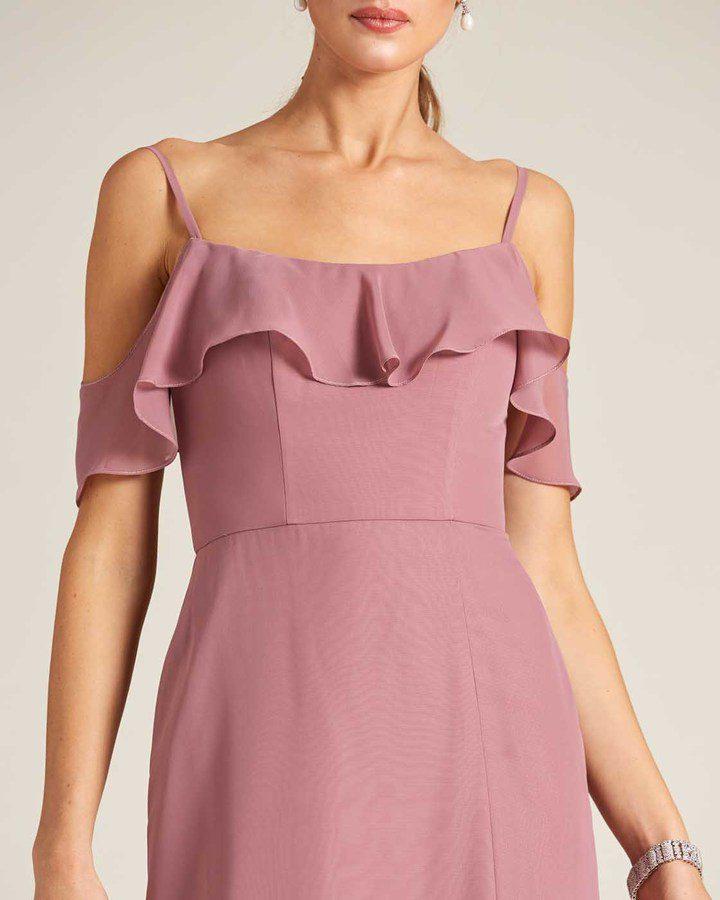 Rose Pink Layered Top Long Slit Skirt Dress - Detail