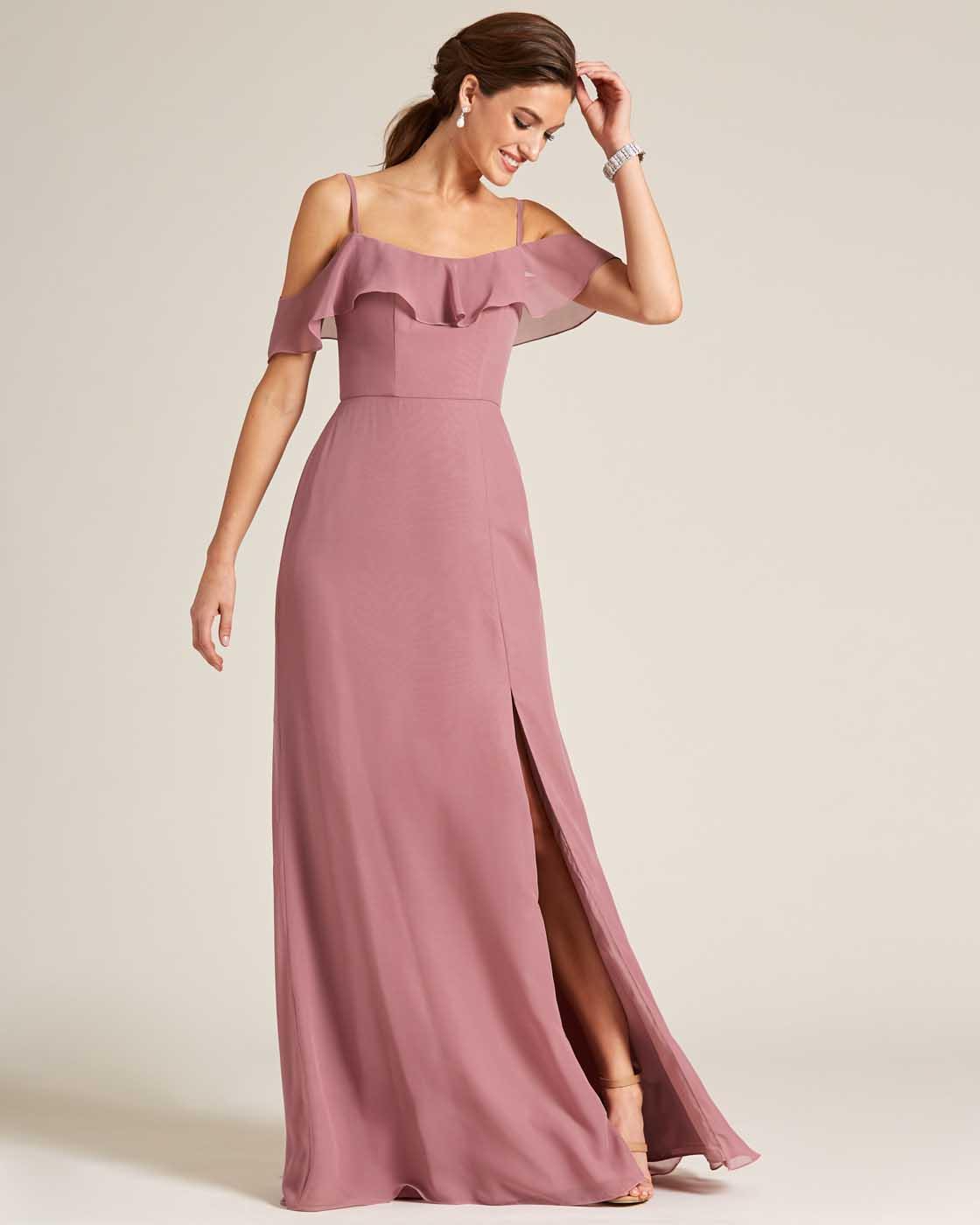 Rose Pink Layered Top Long Slit Skirt Dress - Front