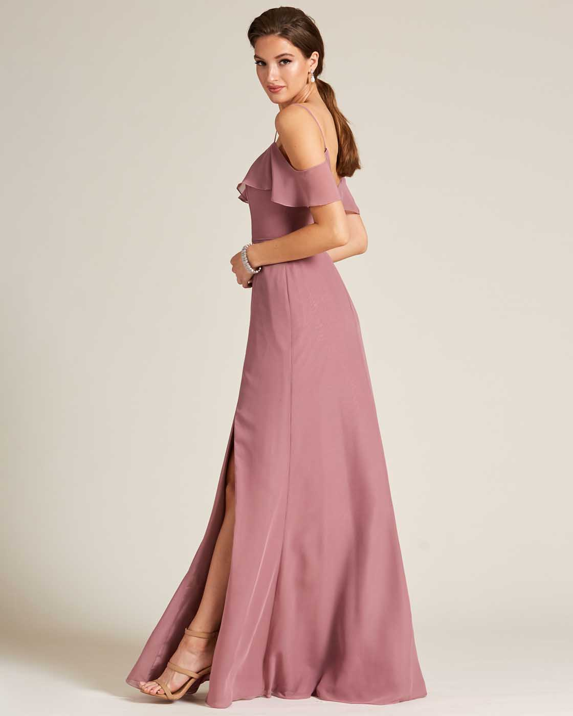 Rose Pink Layered Top Long Slit Skirt Dress - Side