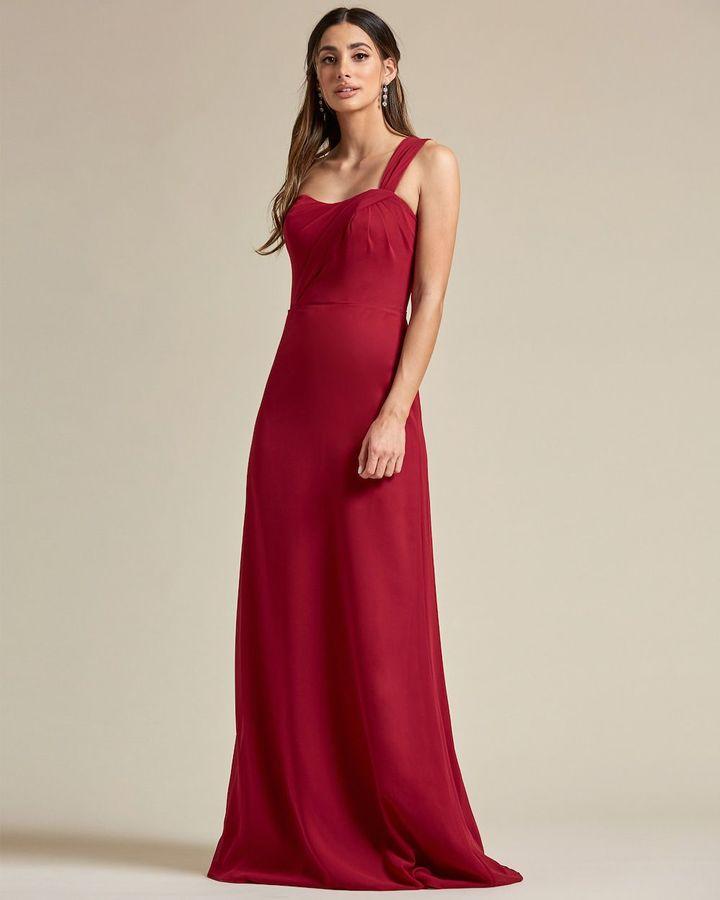 One Strap Shoulder Maxi Dress - Front