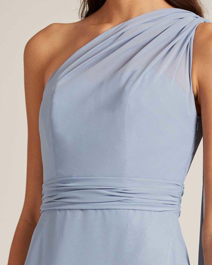 Sky Blue One Shoulder Maxi Dress - Detail