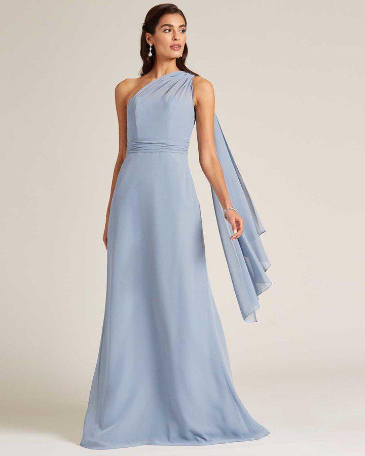 Sky Blue One Shoulder Maxi Dress - Front