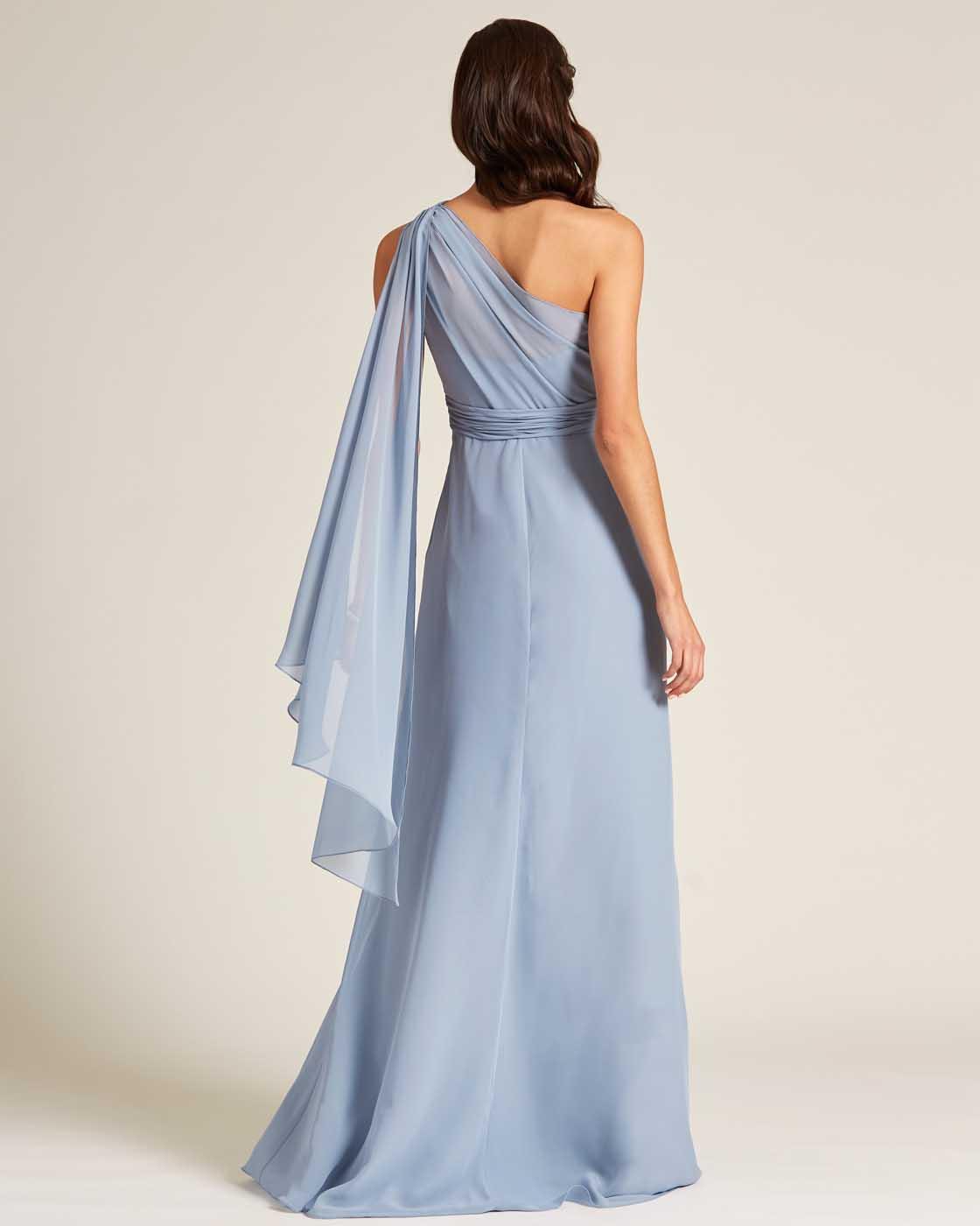 Sky Blue One Shoulder Maxi Dress - Back