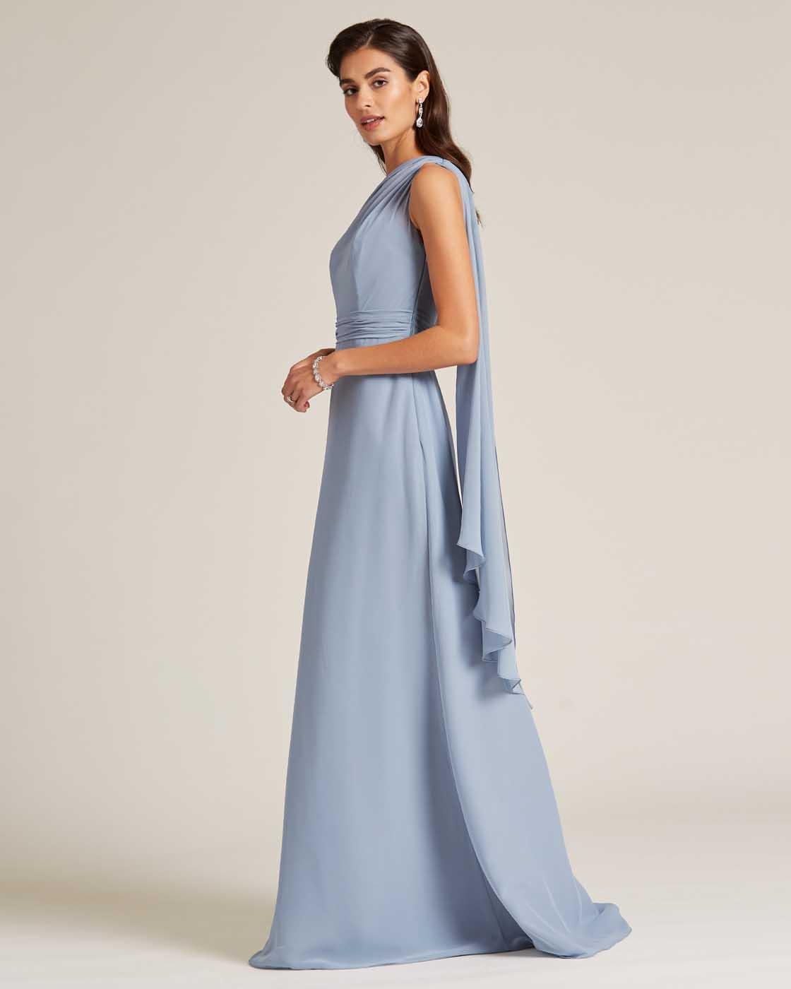 Sky Blue One Shoulder Maxi Dress - Side