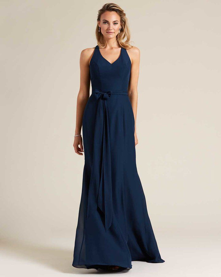 Navy Blue Sleeveless Bow Detail Formal Gown - Front
