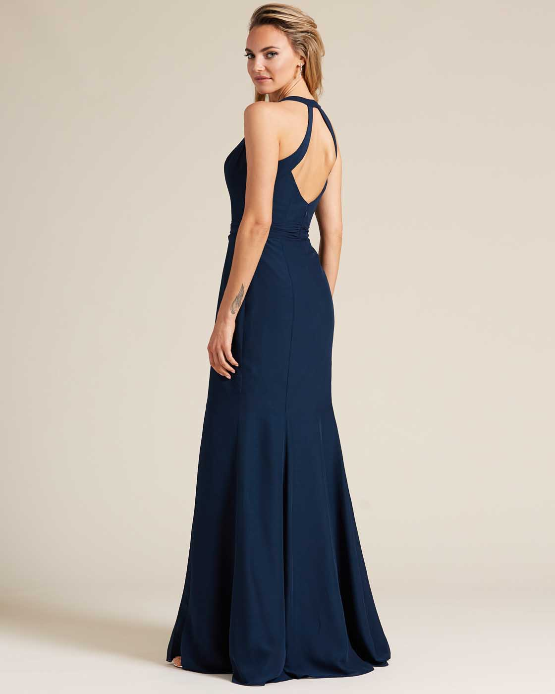 Navy Blue Sleeveless Bow Detail Formal Gown - Back