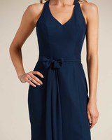 Navy Blue Sleeveless Bow Detail Formal Gown - Detail