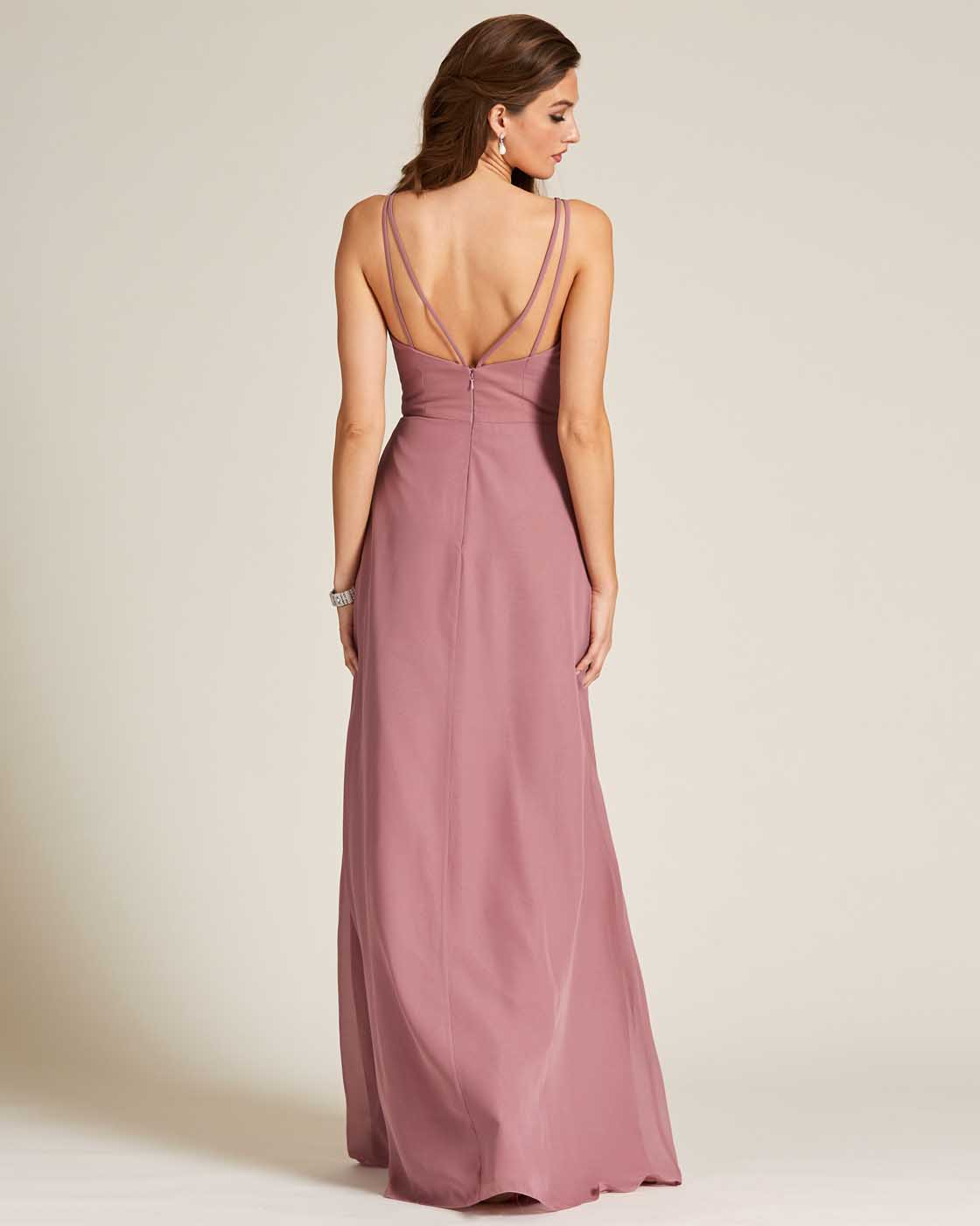 Mauve Thin Straps Long Skirt Gown - Back