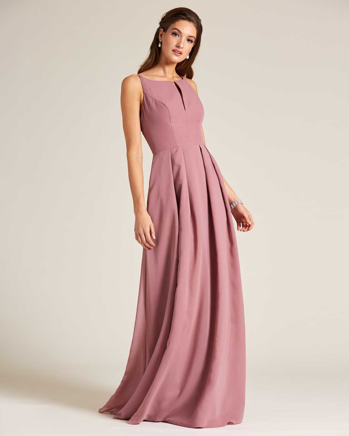 Mauve Thin Straps Long Skirt Gown - Front