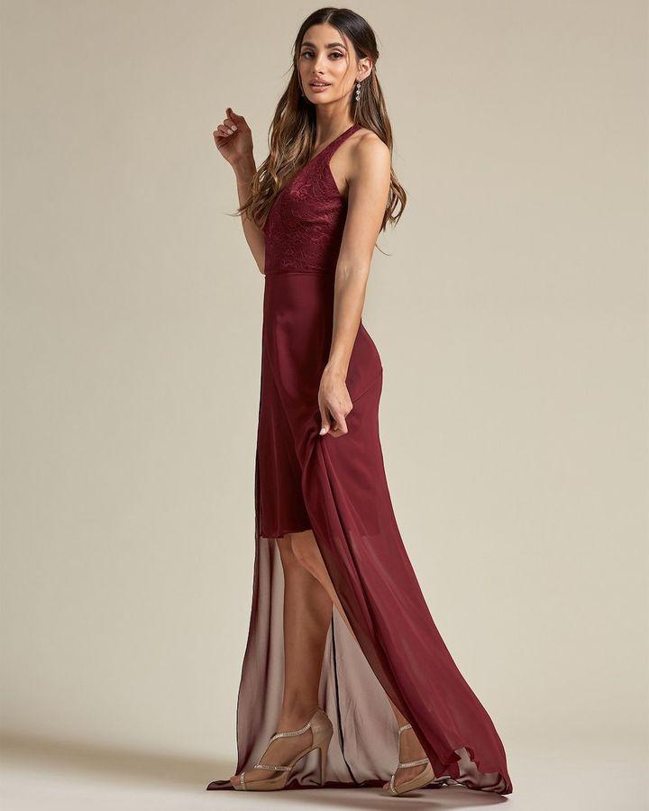 V Neck Lace Racerback Mini Dress - Side