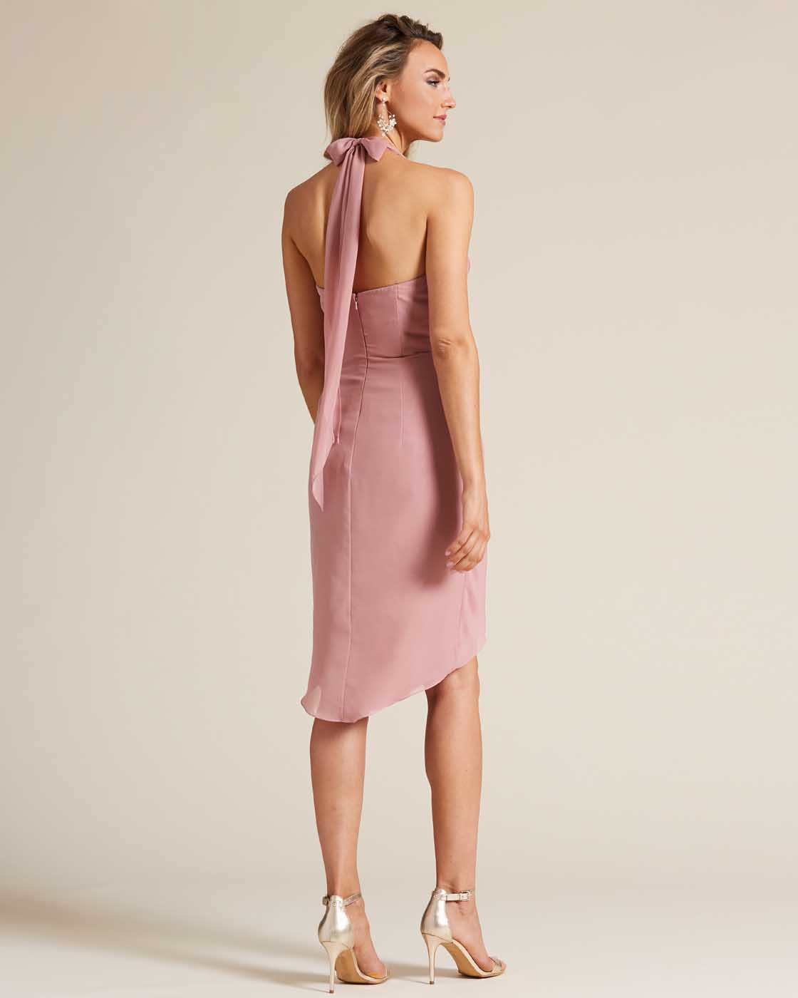 Rose Pink Halter Top Bow Detail Gown - Back