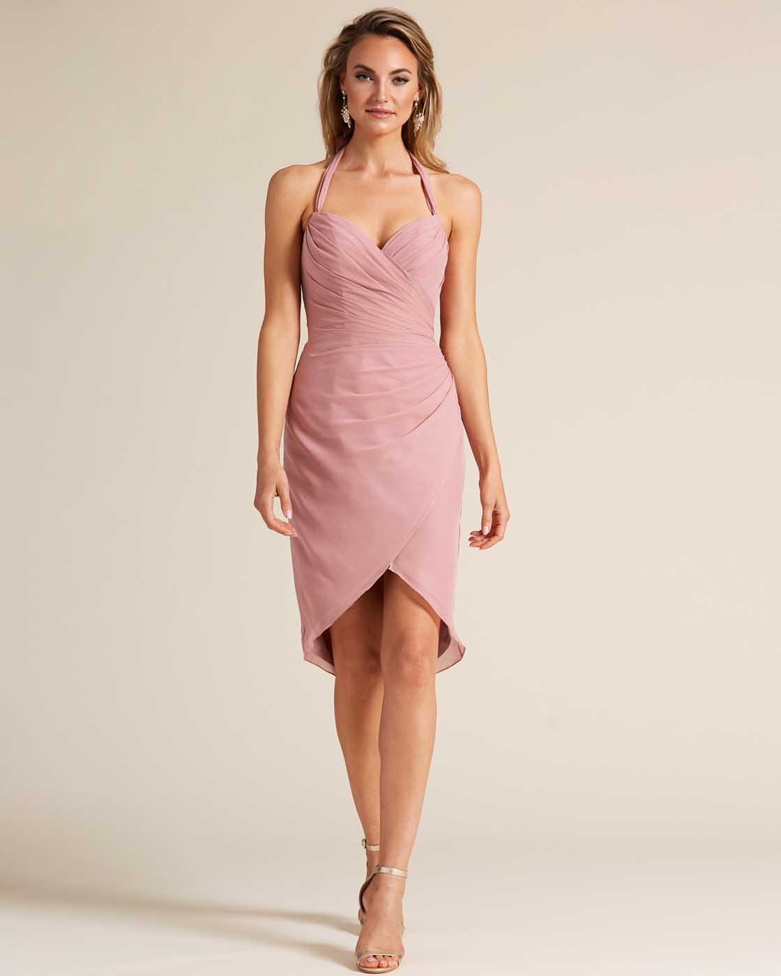 Rose Pink Halter Top Bow Detail Gown - Front