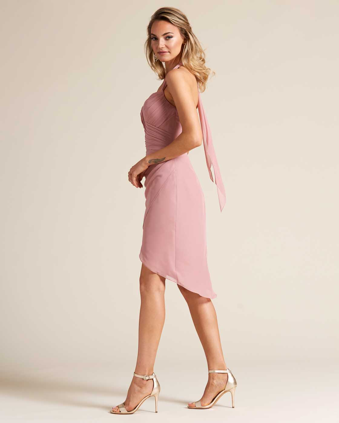 Rose Pink Halter Top Bow Detail Gown - Side