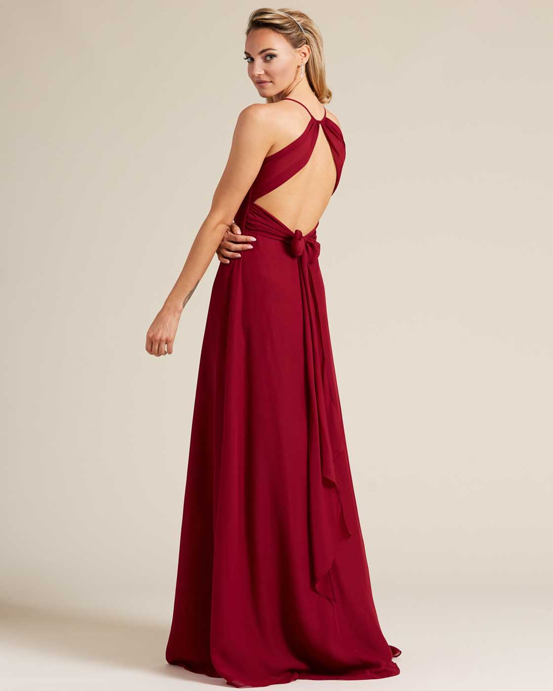 Burgundy Sleeveless Bow Detail Evening Gown - Back