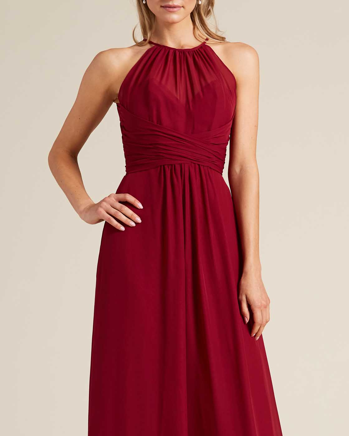 Burgundy Sleeveless Bow Detail Evening Gown - Detail