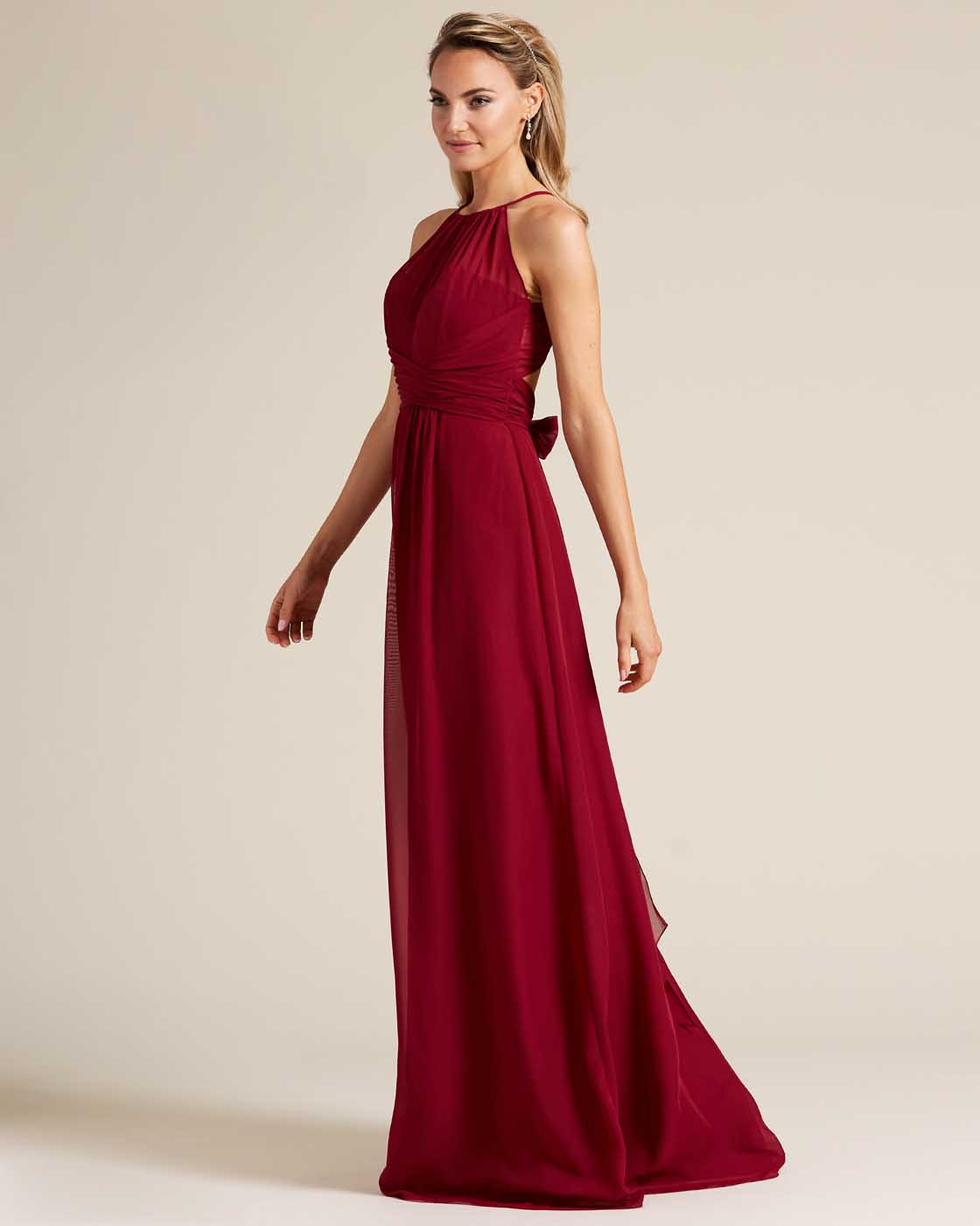 Burgundy Sleeveless Bow Detail Evening Gown - Side