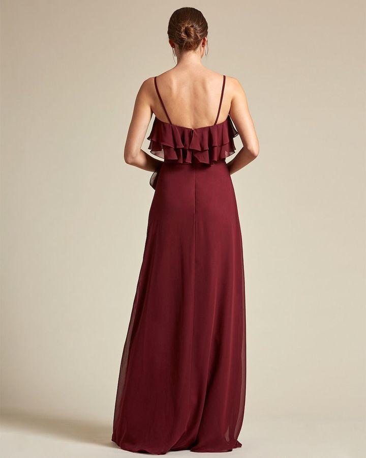 Spaghetti Strap Flounce Top Bridesmaid Dress with Ribbon Detail - Back
