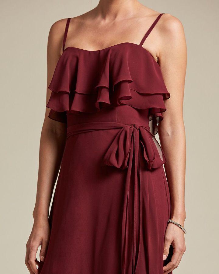 Spaghetti Strap Flounce Top Bridesmaid Dress with Ribbon Detail - Detail