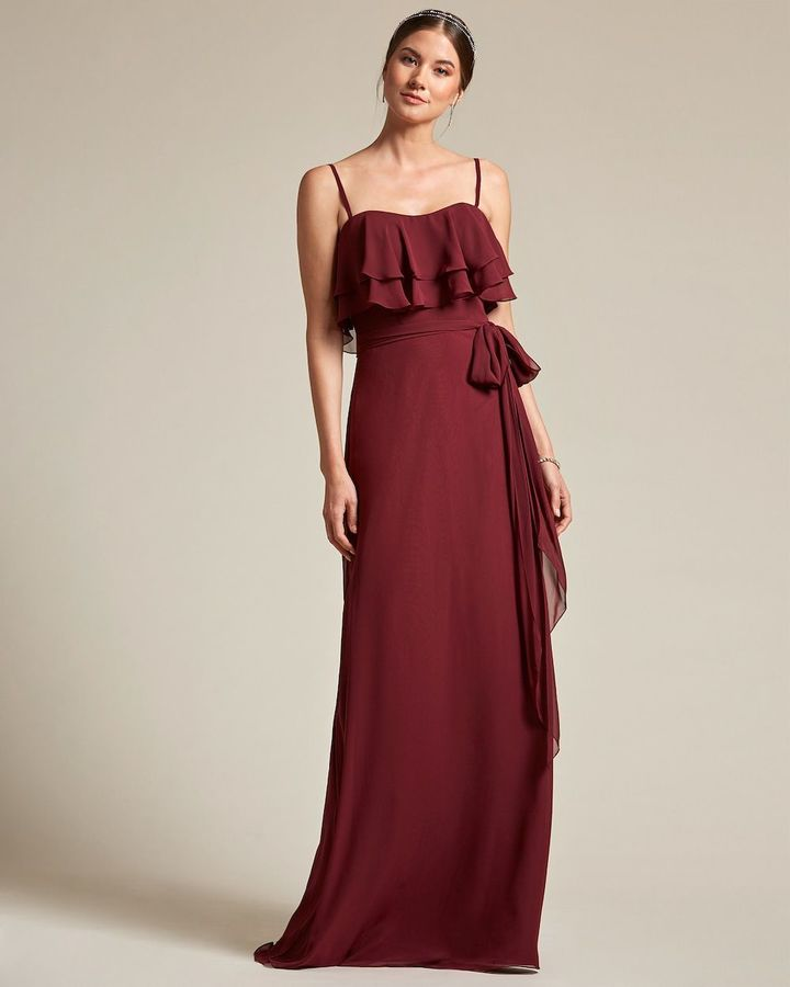 Spaghetti Strap Flounce Top Bridesmaid Dress with Ribbon Detail - Front