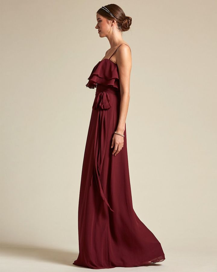 Spaghetti Strap Flounce Top Bridesmaid Dress with Ribbon Detail - Side