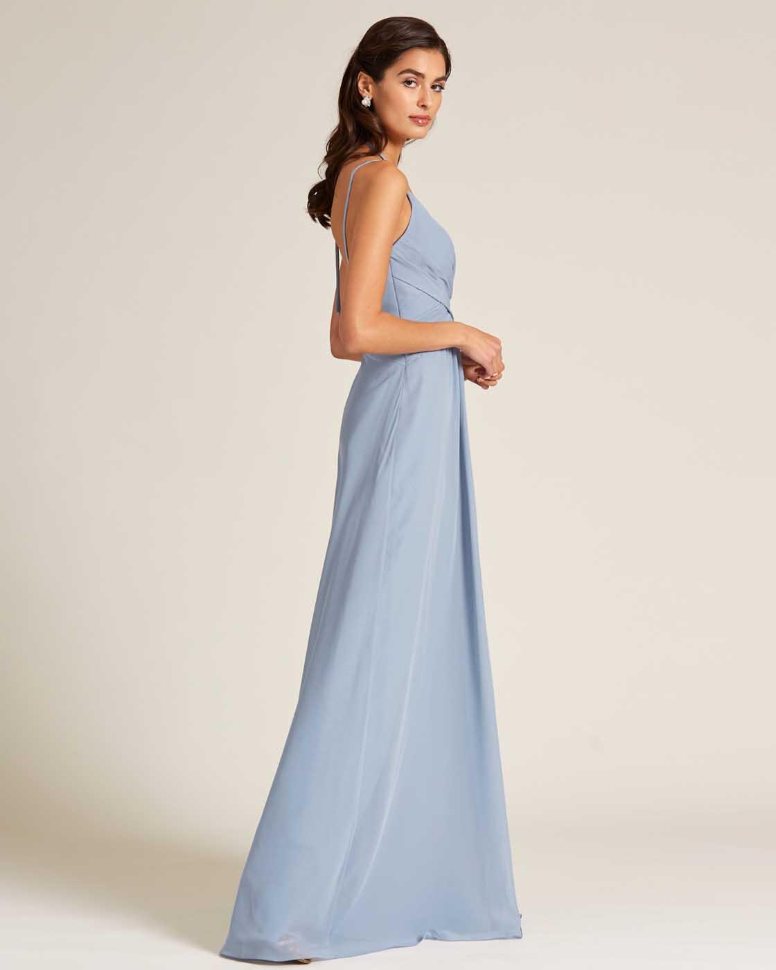 Light Blue Criss Cross V Neck Style Formal Gown - Side