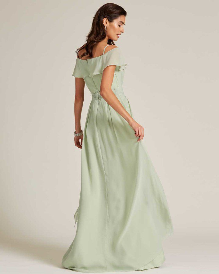 Sage Green Flounce Top Evening Gown - Back
