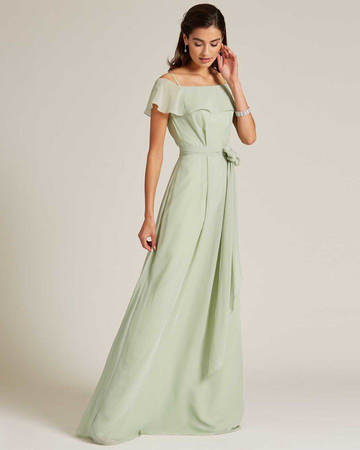 Sage Green Flounce Top Evening Gown - Side