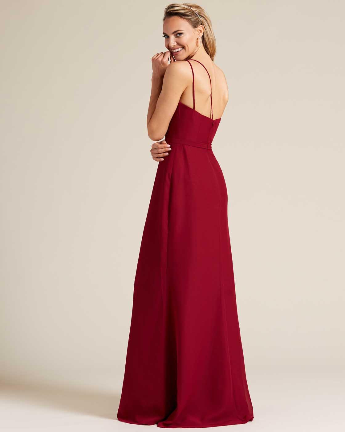 Wine Red One Shoulder Special Occasion Dress  - Back