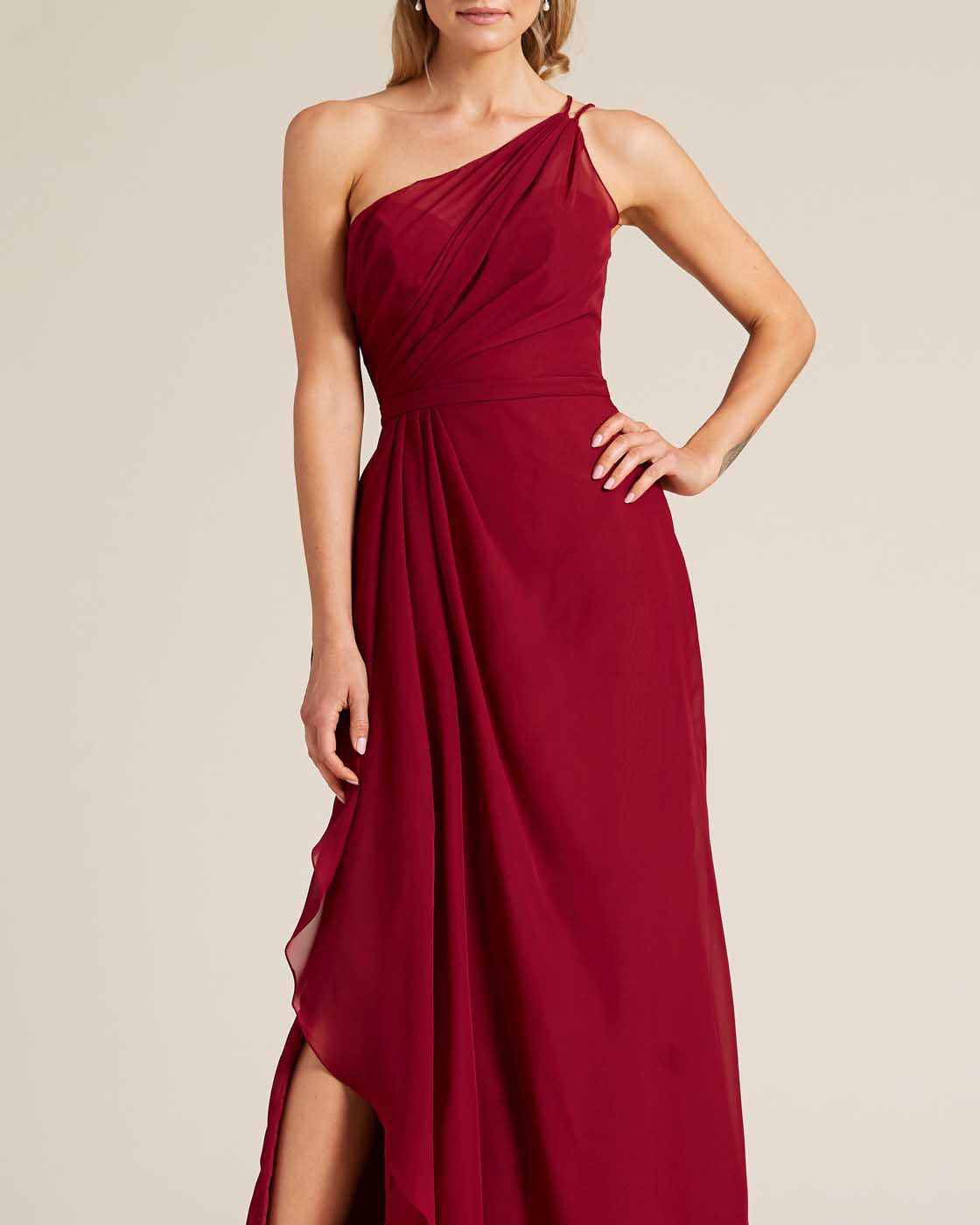 Wine Red One Shoulder Special Occasion Dress  - Detail