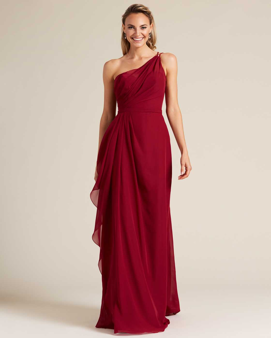 Wine Red One Shoulder Special Occasion Dress  - Front