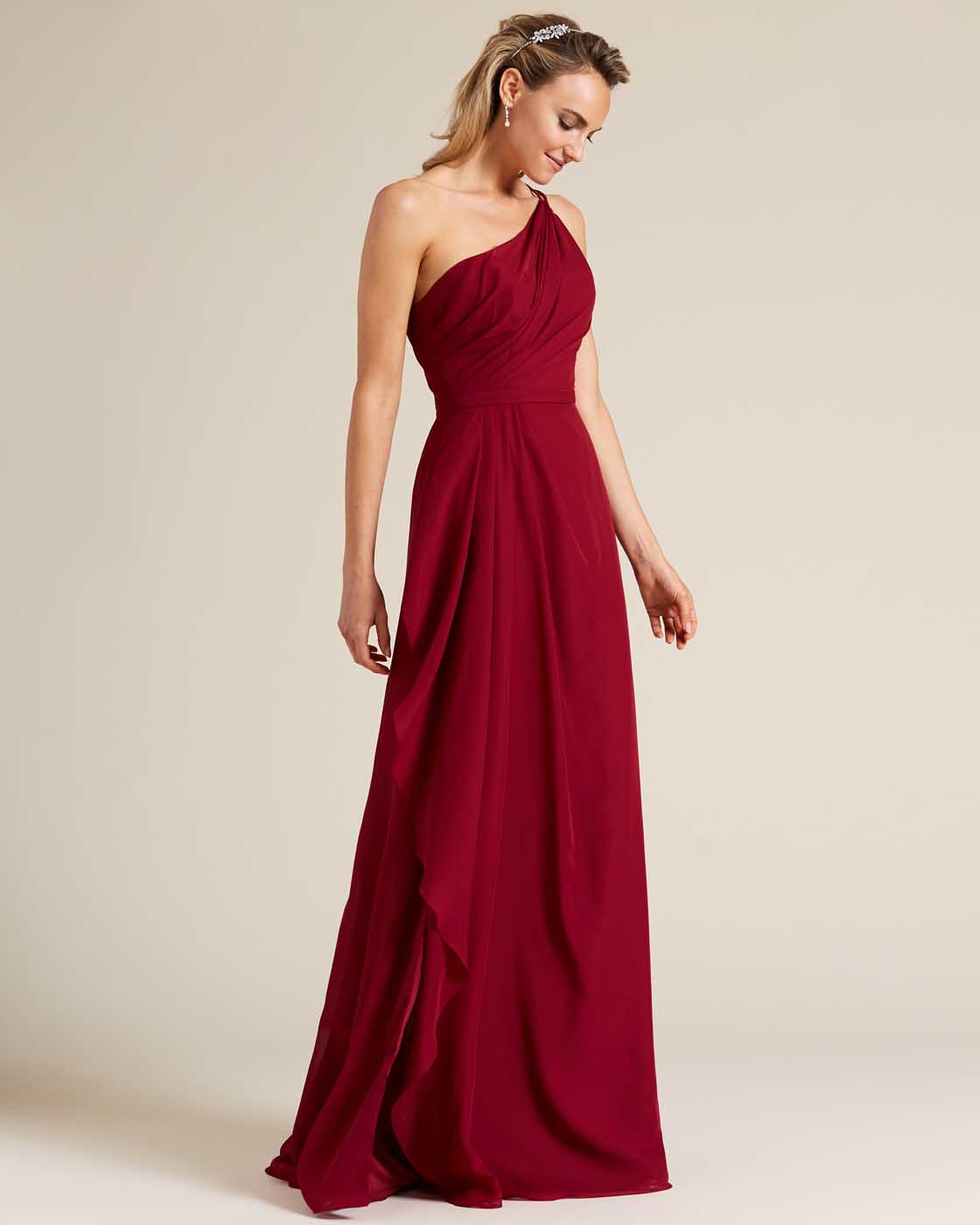 Wine Red One Shoulder Special Occasion Dress  - Side
