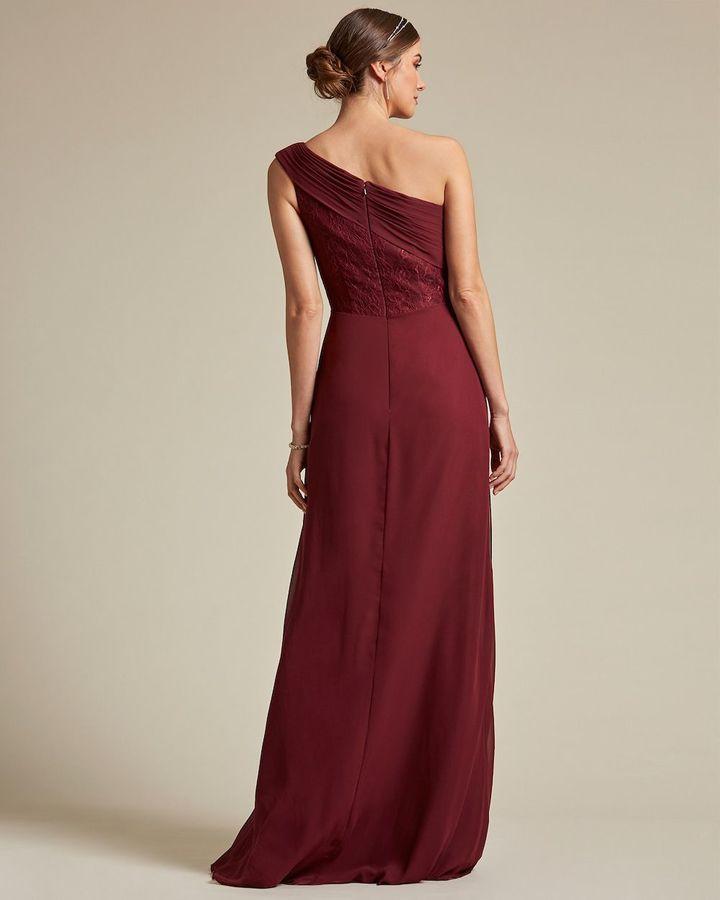 Classic Asymmetrical Sleeve Maxi Dress - Back