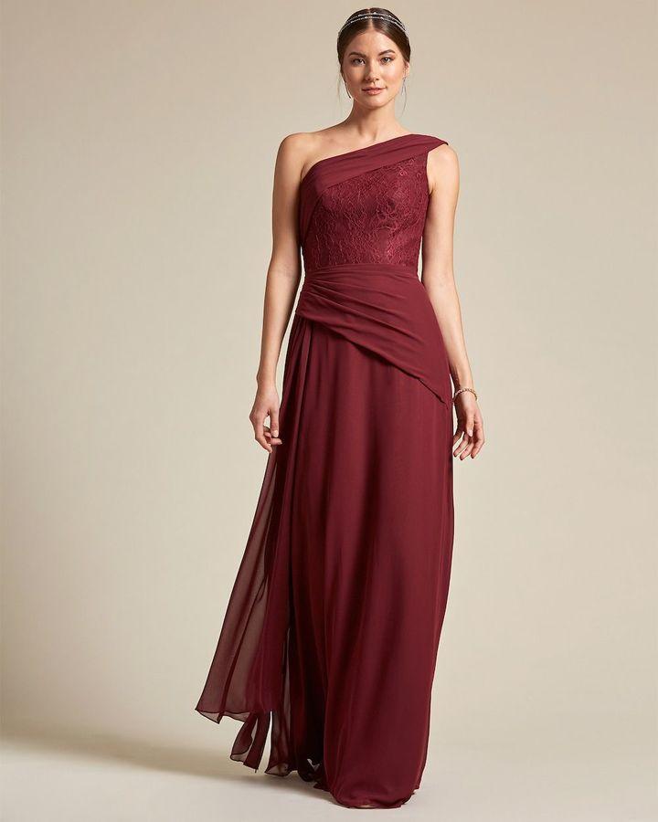 Classic Asymmetrical Sleeve Maxi Dress - Front