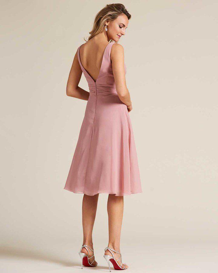 Rose Pink Thick Strap V Neck Dress - Back