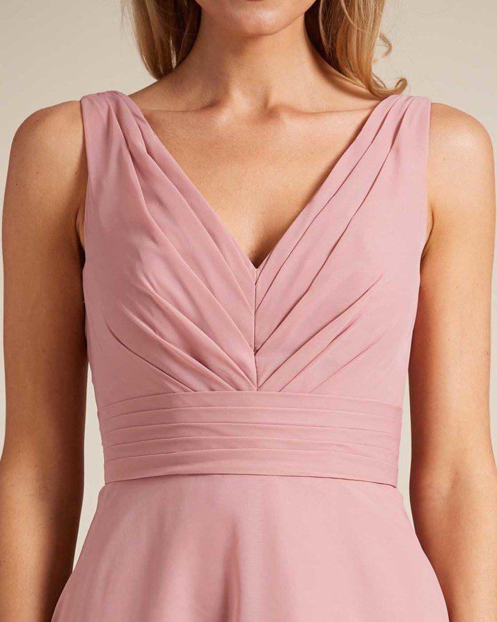 Rose Pink Thick Strap V Neck Dress - Detail