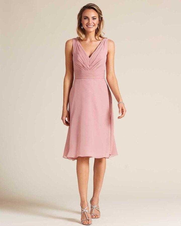 Rose Pink Thick Strap V Neck Dress - Front