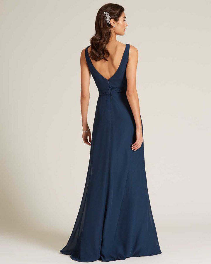 Navy Blue Asymmetrical Neckline Special Occasion Gown - Back