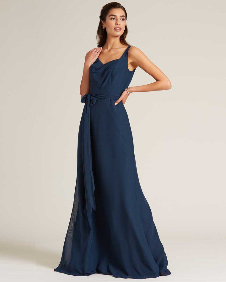 Navy Blue Asymmetrical Neckline Special Occasion Gown - Front