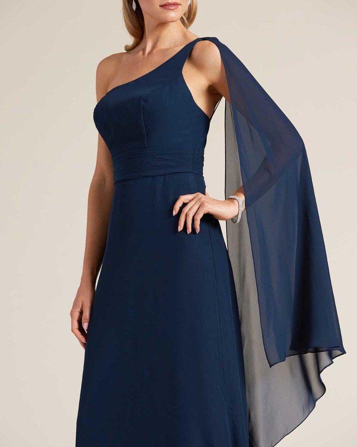 Blue One Shoulder Cape Sleeve Dress - Detail