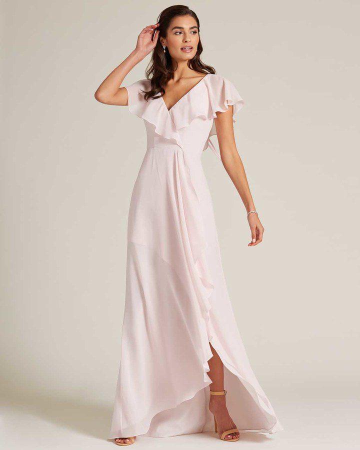 Pink Ruffle Top Long Skirt Dress - Front