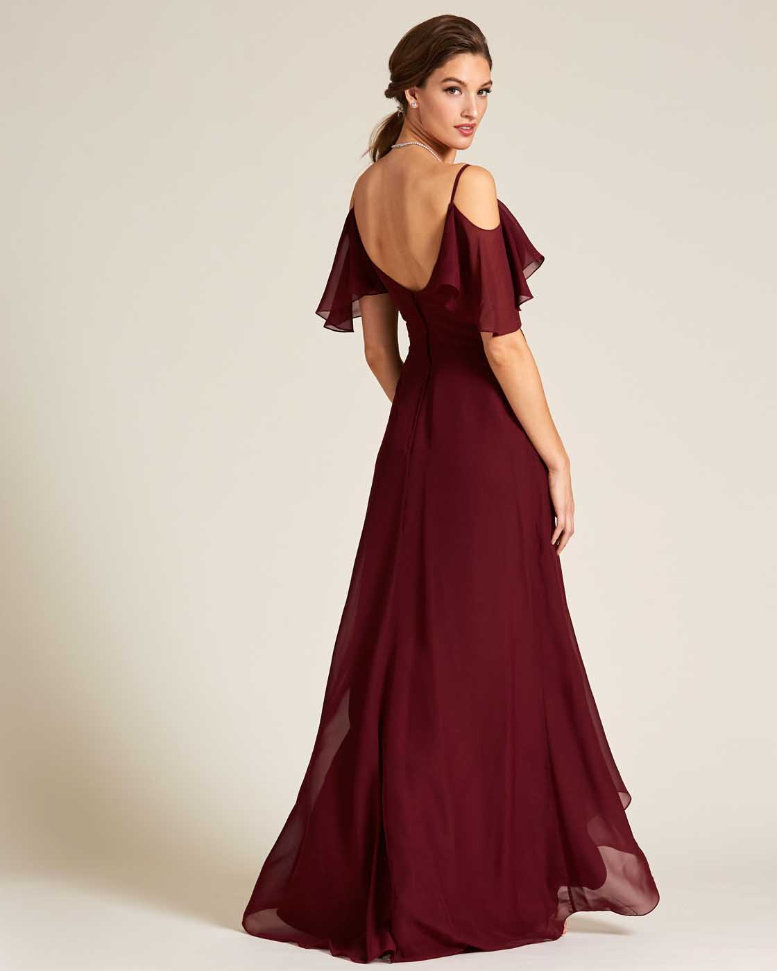 Dark Red Cut Out Bell Sleeve Gown - Back