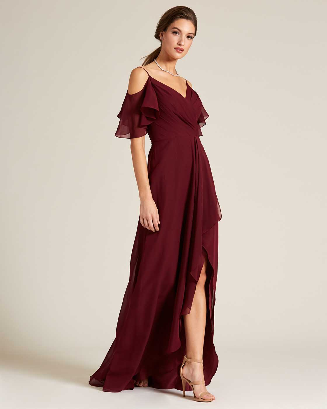 Dark Red Cut Out Bell Sleeve Gown - Detail Front