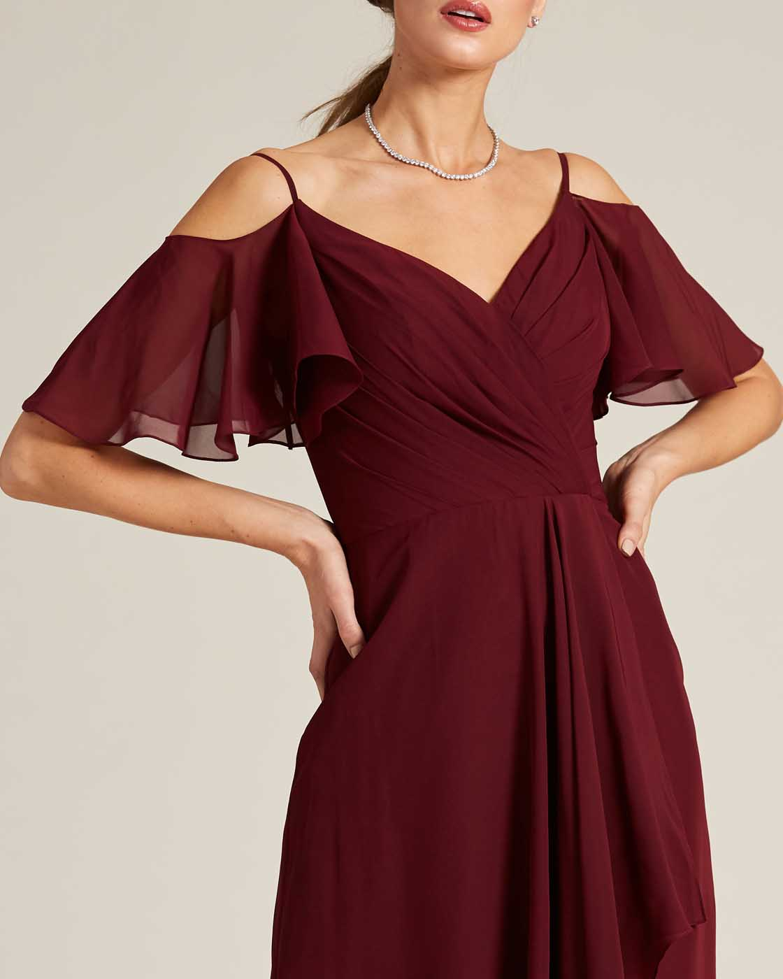 Dark Red Cut Out Bell Sleeve Gown - Detail