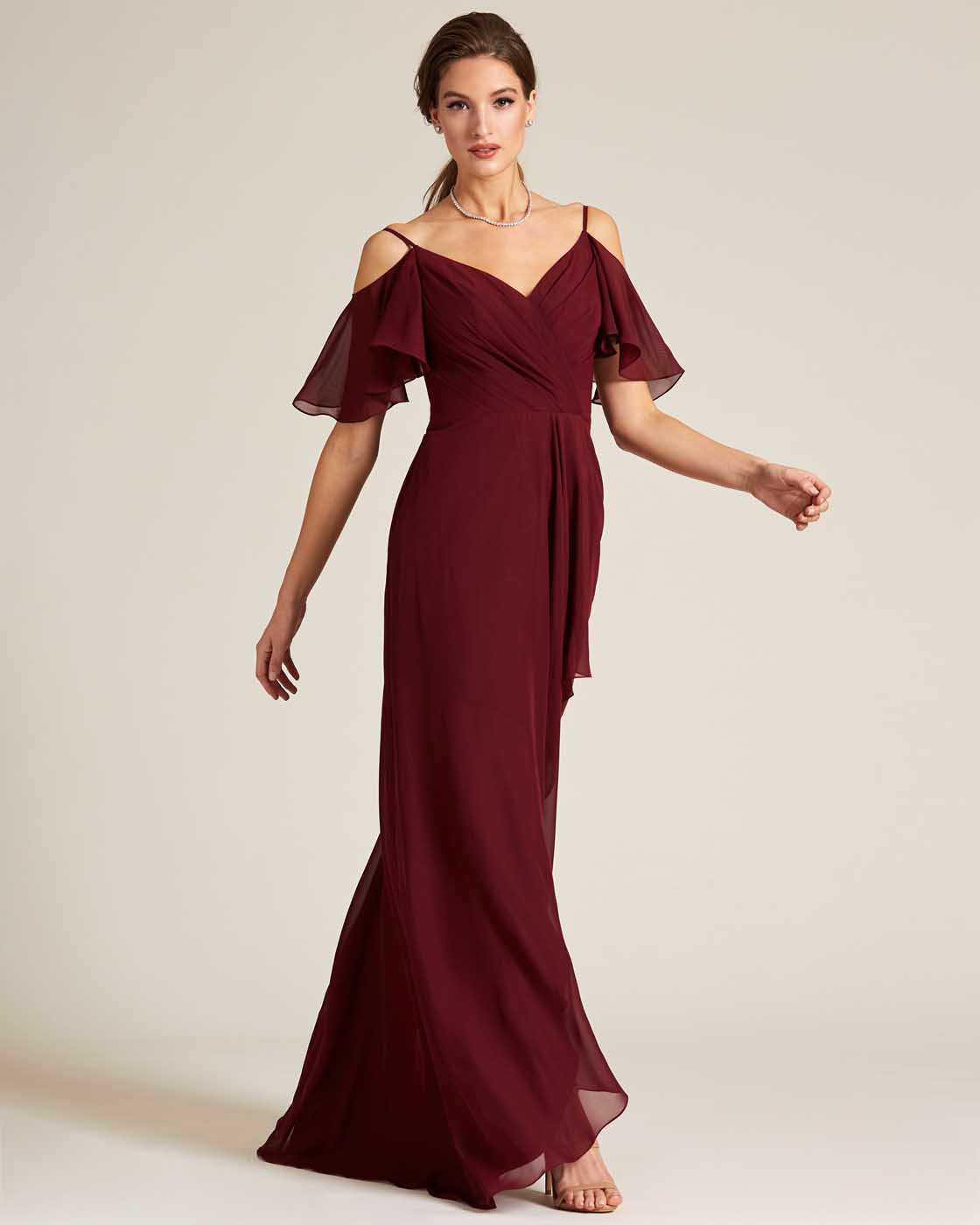 Dark Red Cut Out Bell Sleeve Gown - Front