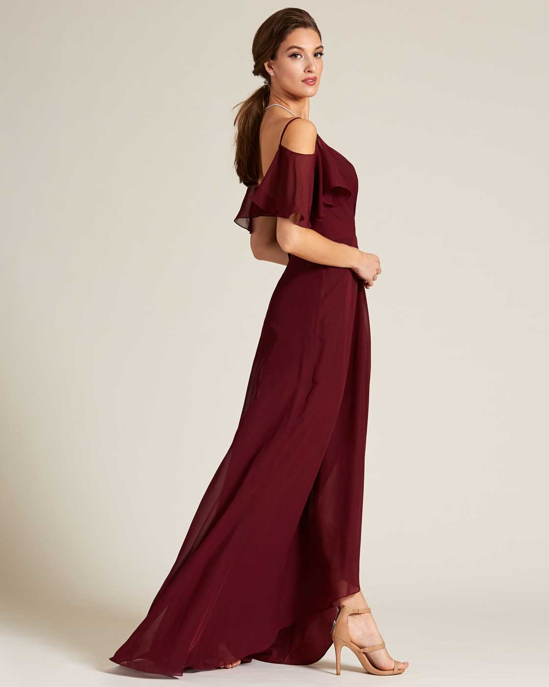 Dark Red Cut Out Bell Sleeve Gown - Side