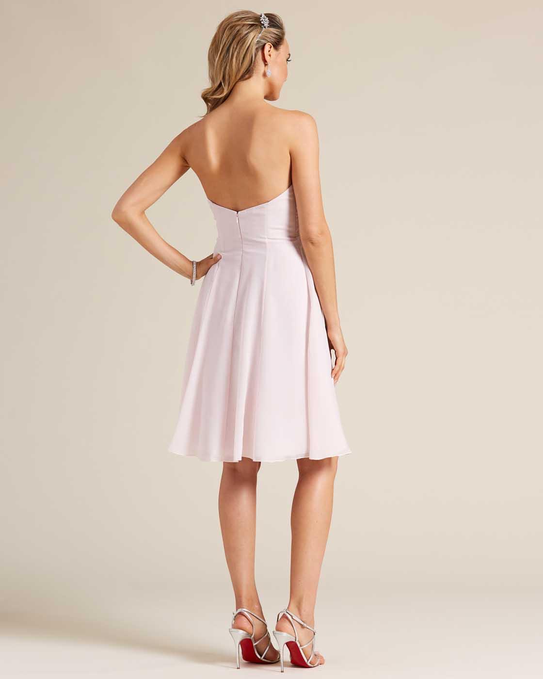 Pink Strapless Short Skirt Dress - Back